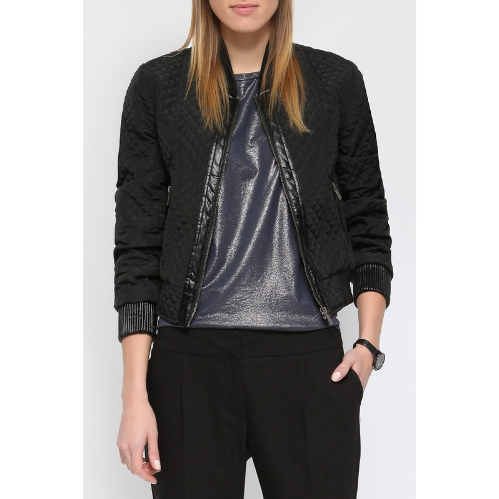 Top secret women's jacket black color with leather imitation