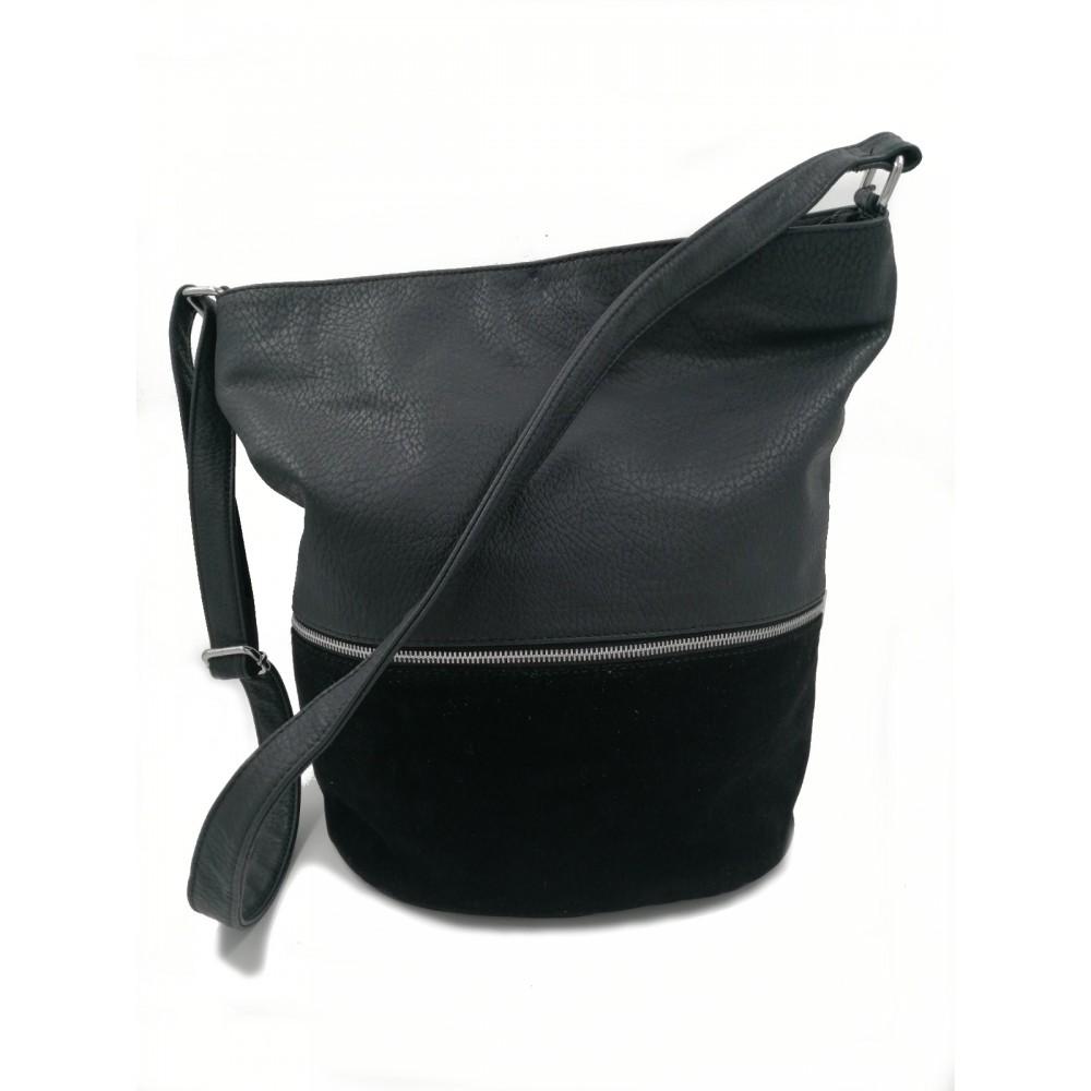Reserved women's handbag, black color with backchat details
