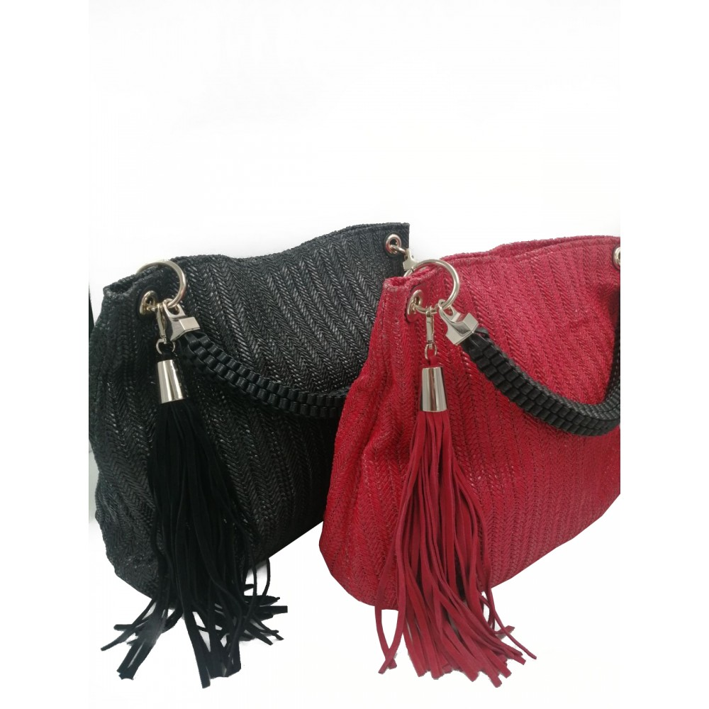 Reserved women's bag, red and black color