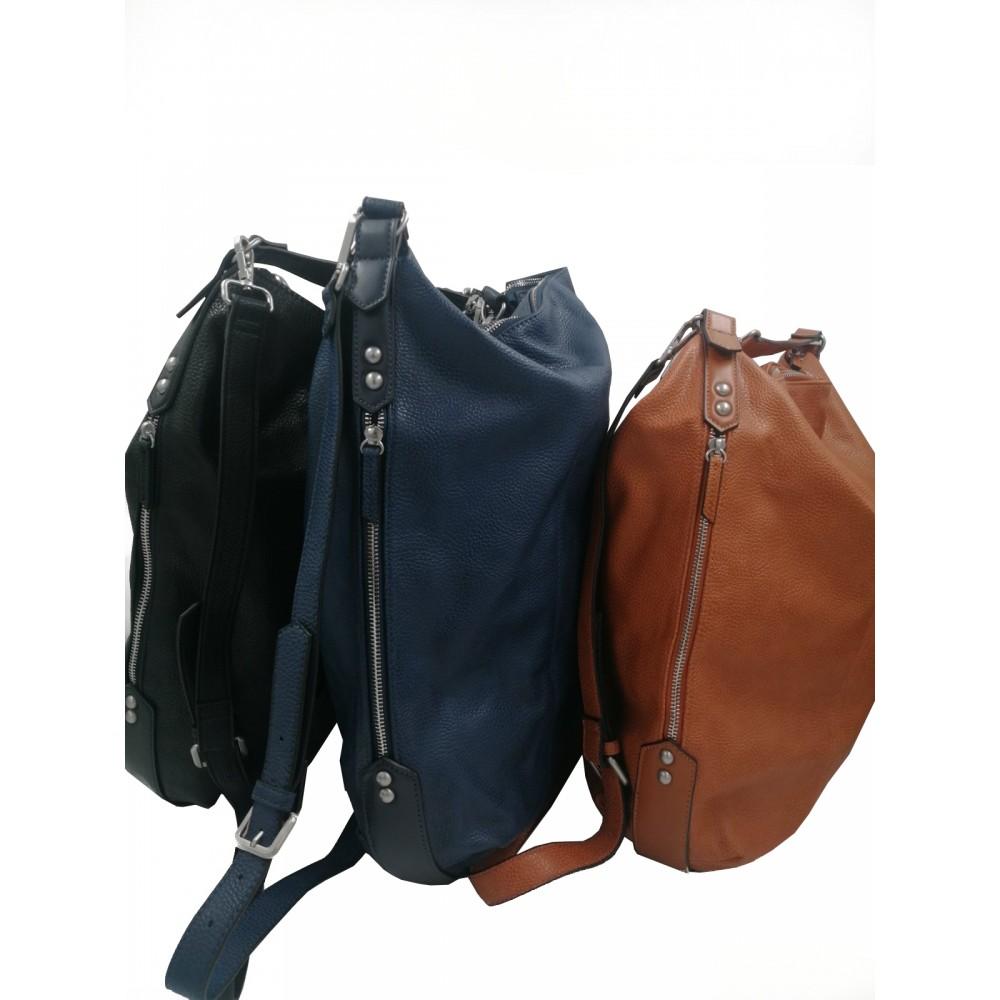 Reserved women's bag, brown/blue/black color