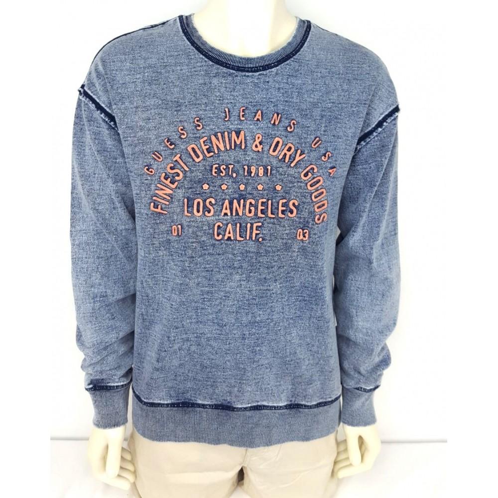 Guess men's sweater, imitation denim, light blue color m71q60r5ry0