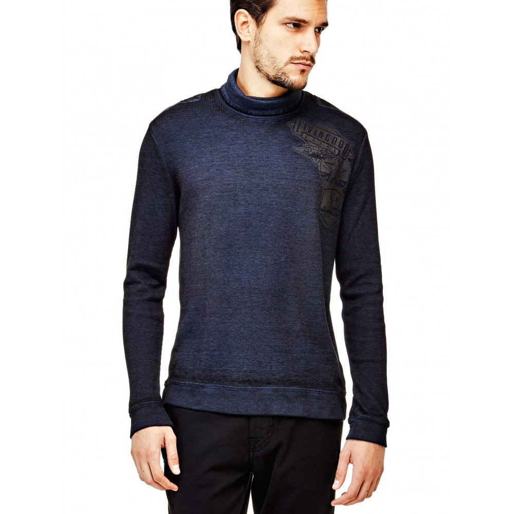 Guess men's sweater with elongated collar, dark blue color m74p43k6980