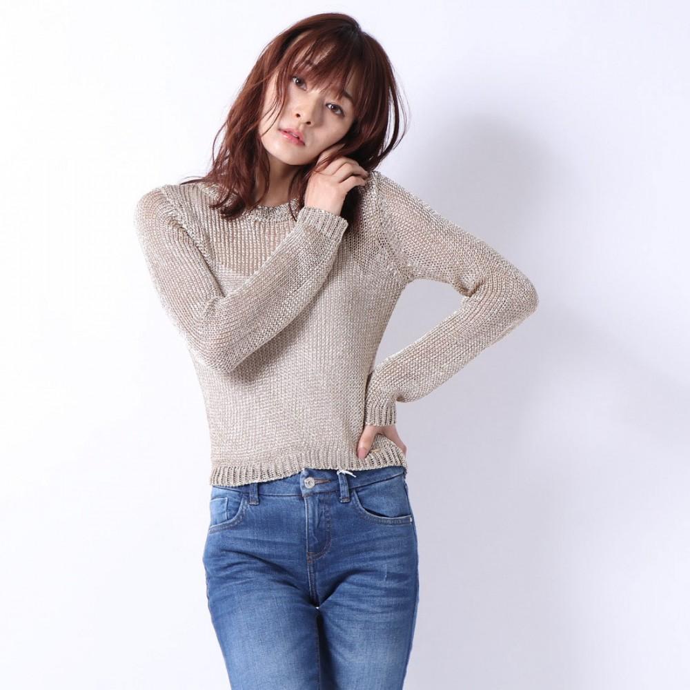 Guess women's silver metallic look sweater