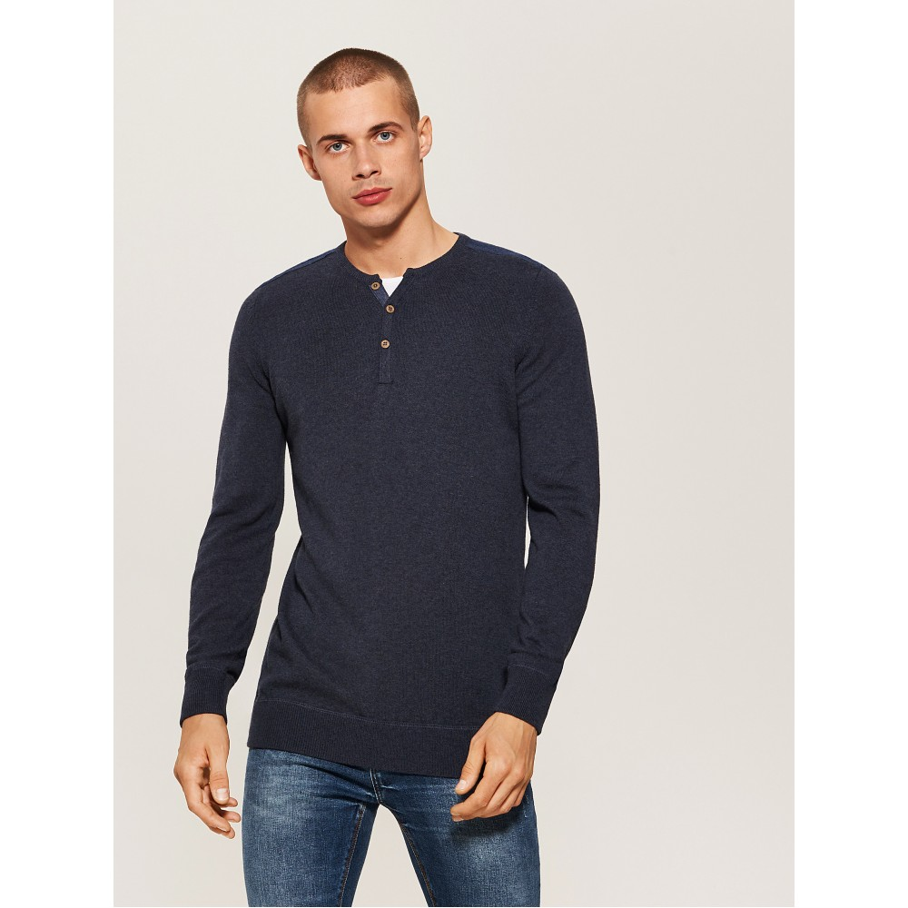 House men's sweater gray blue color with button closure at the neck and long sleeves