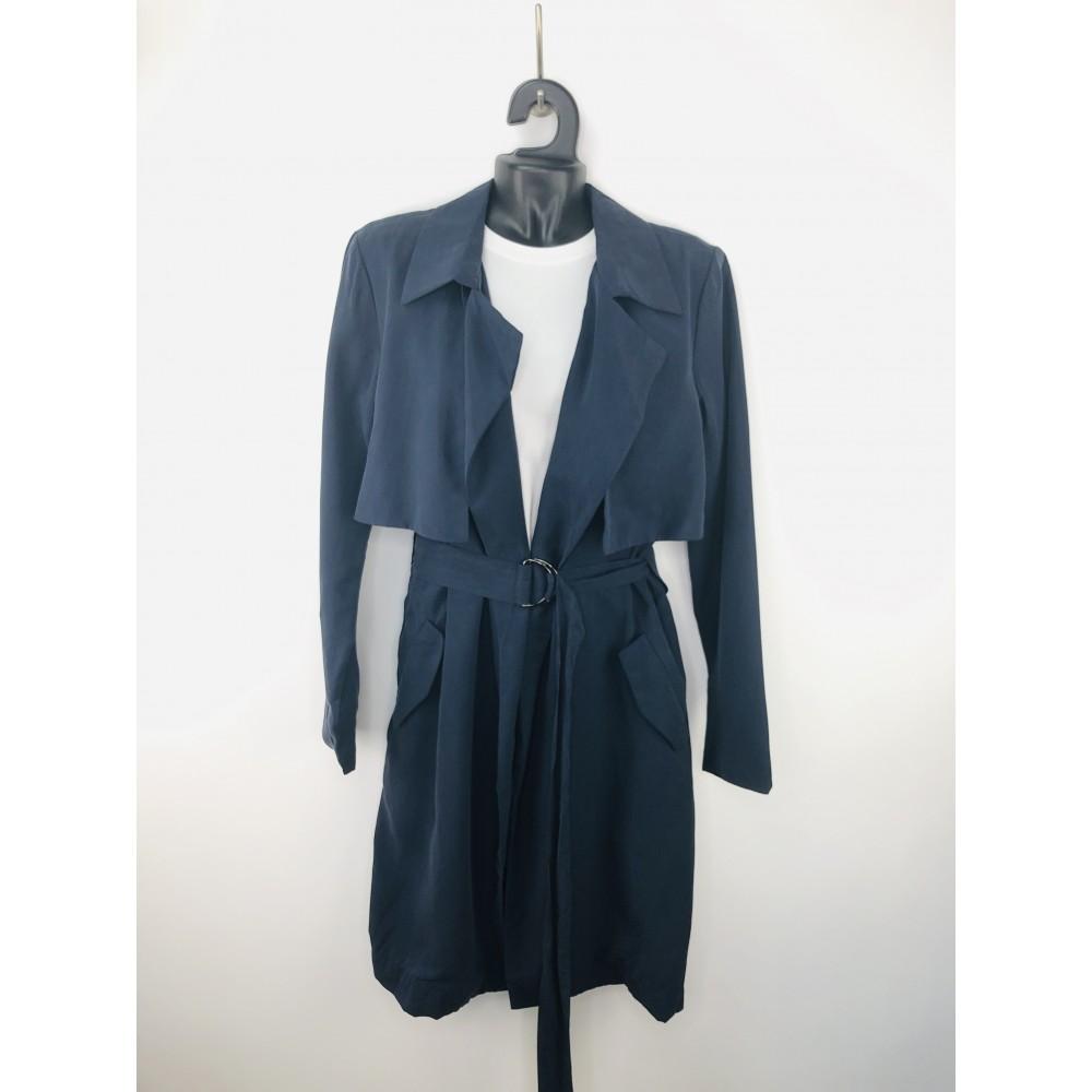 Top secret women's raincoat navy blue without clasp, with belt
