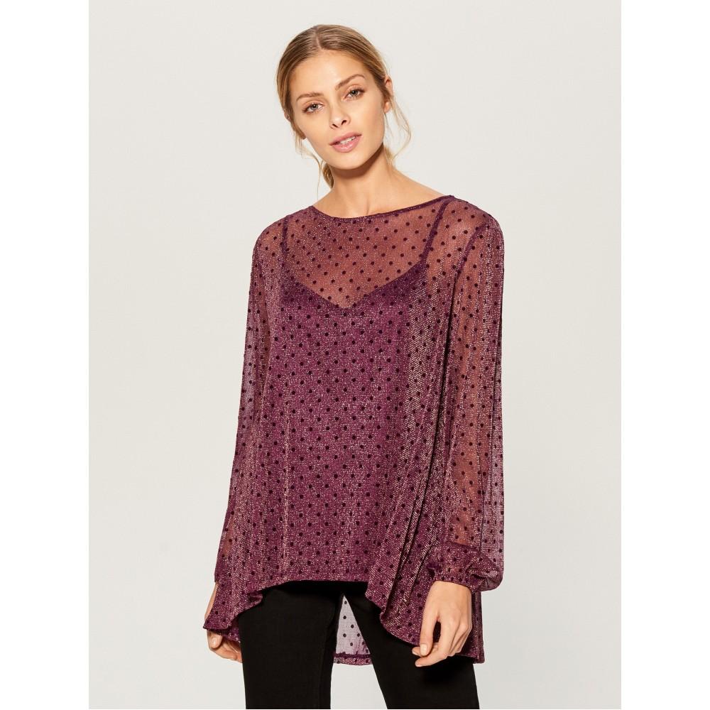 Mohito woman's two-piece blouse, dark purple color, shiny