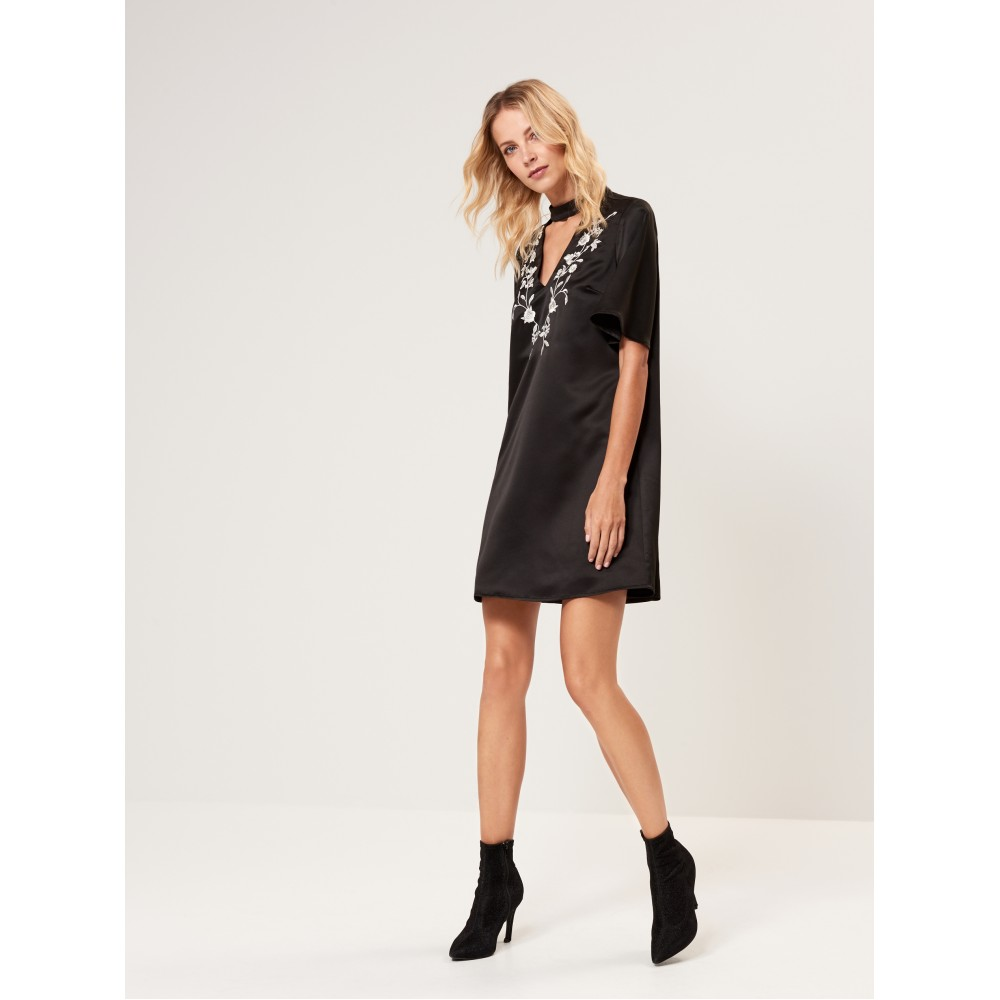 Gold Label Mohito women's dress black color with embroidered ornament