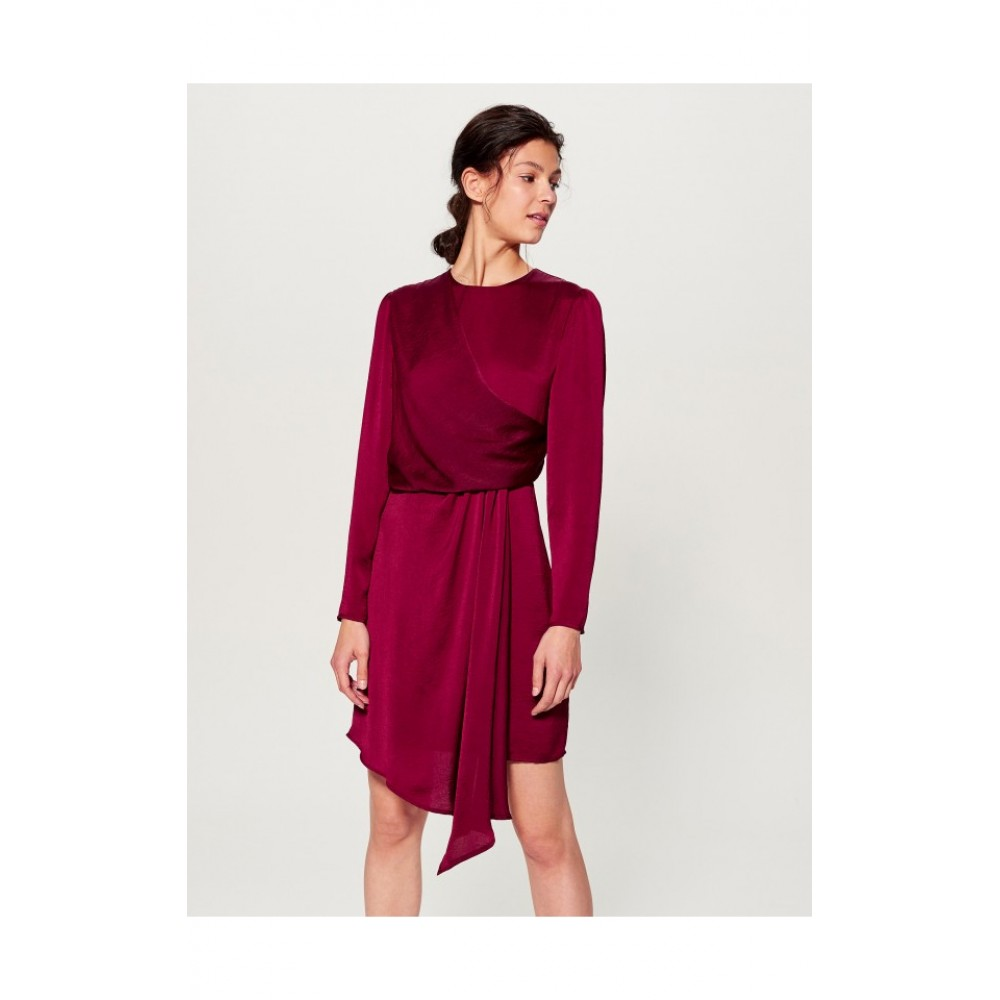 Mohito women's dress, burgundy color with ribbed