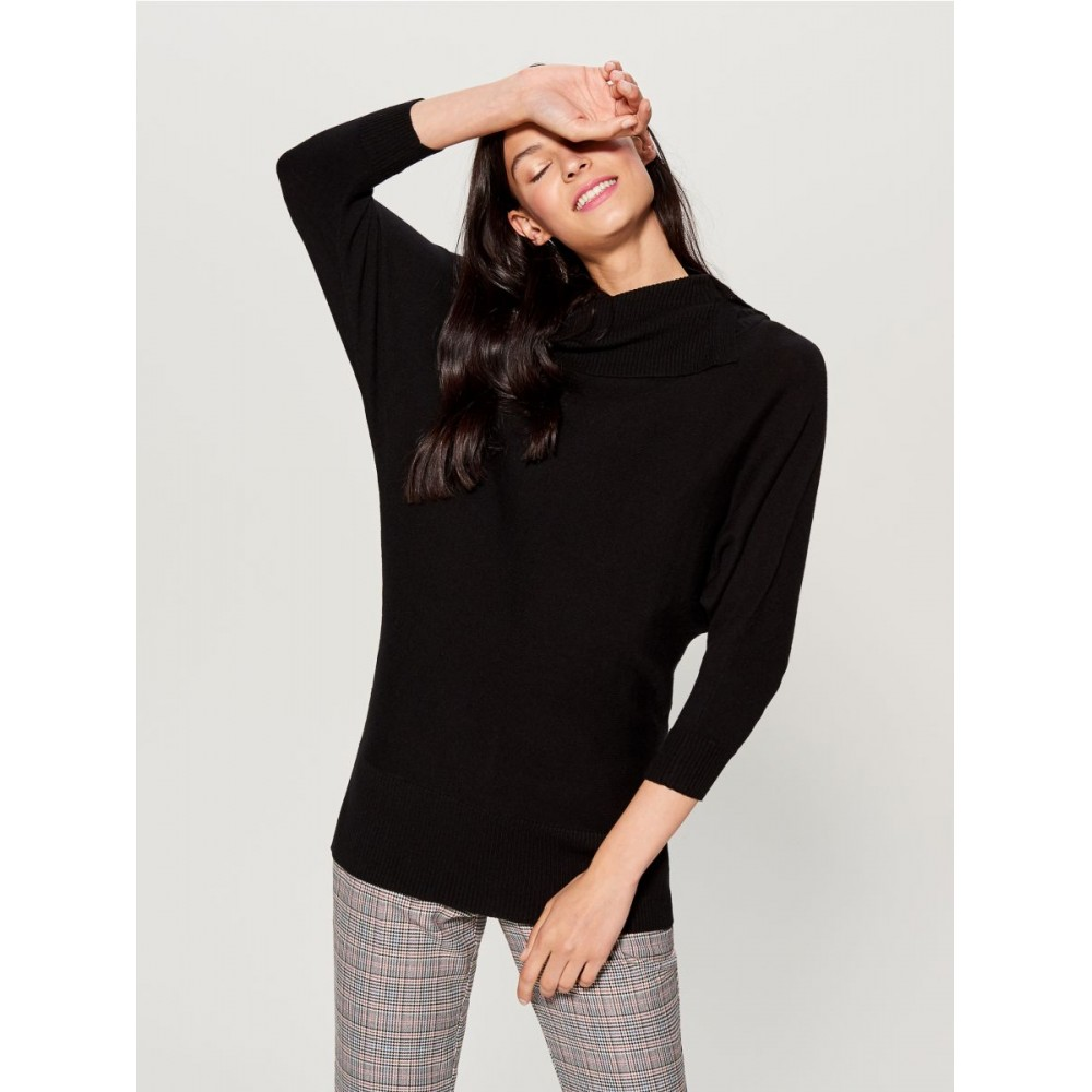 Mohito women's sweater, black color, with extended neck