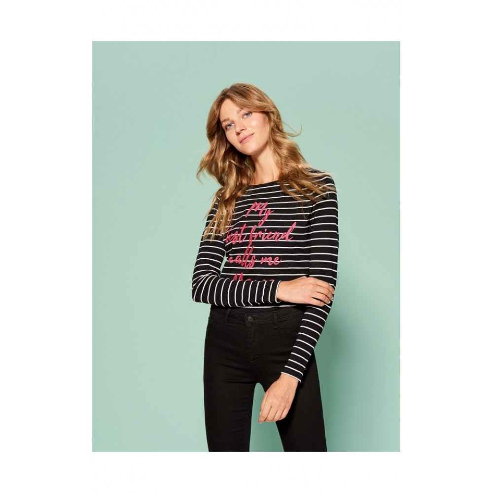 "Mohito Long Sleeve T-Shirt ""My best friend calls me mama"", black with white stripes"
