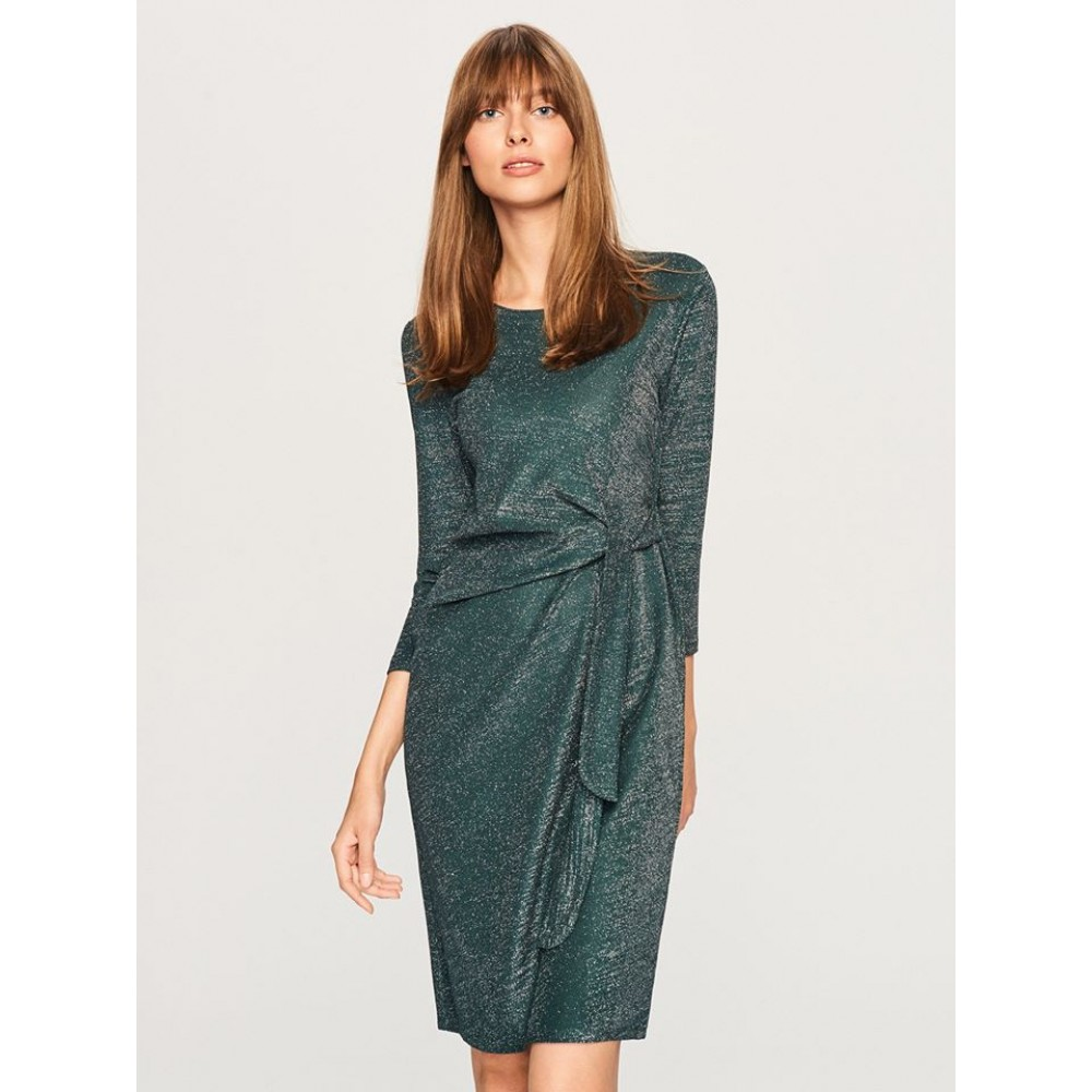Reserved women's dress, green color, glossy with strap on the waist