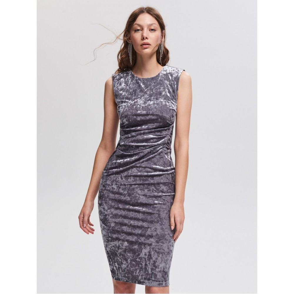 Reserved women's dress, light gray color, glossy, sleeveless, with trapped at the waist