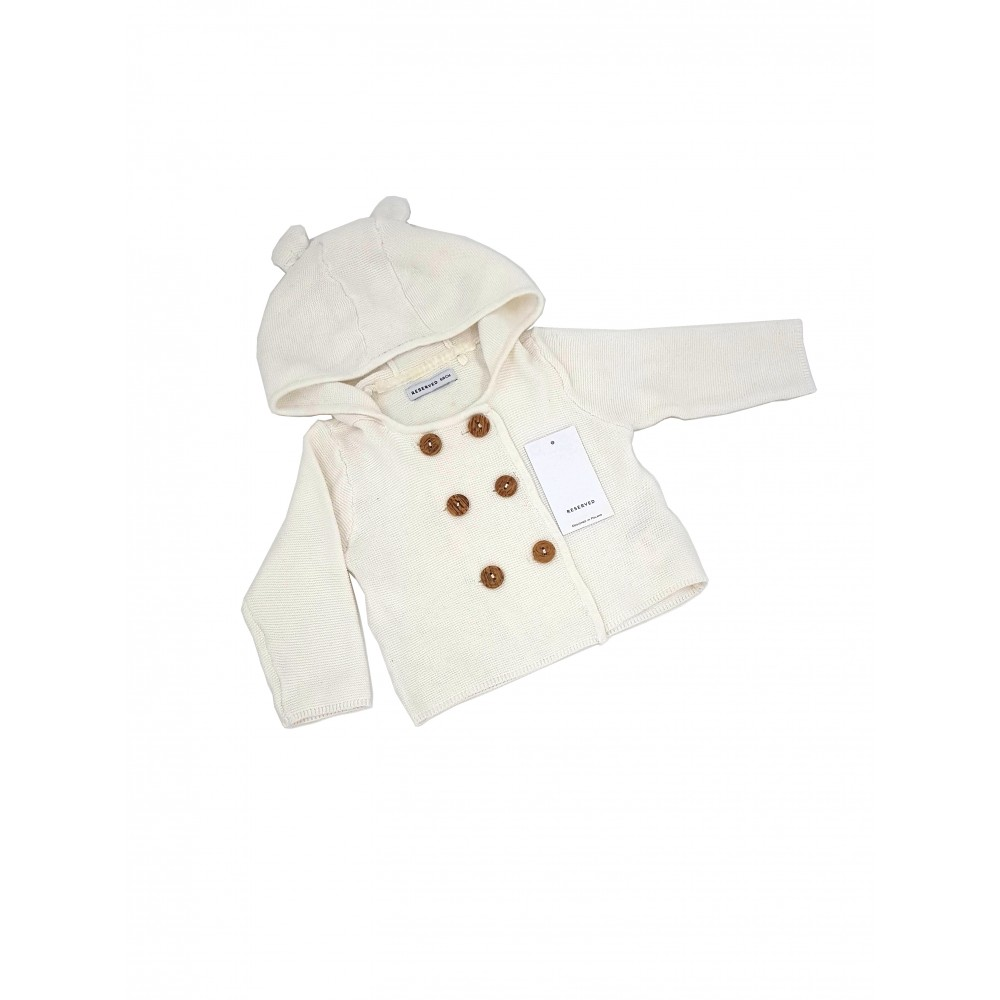 Reserved kids white color sweater with hood, front buttons UD374-01X