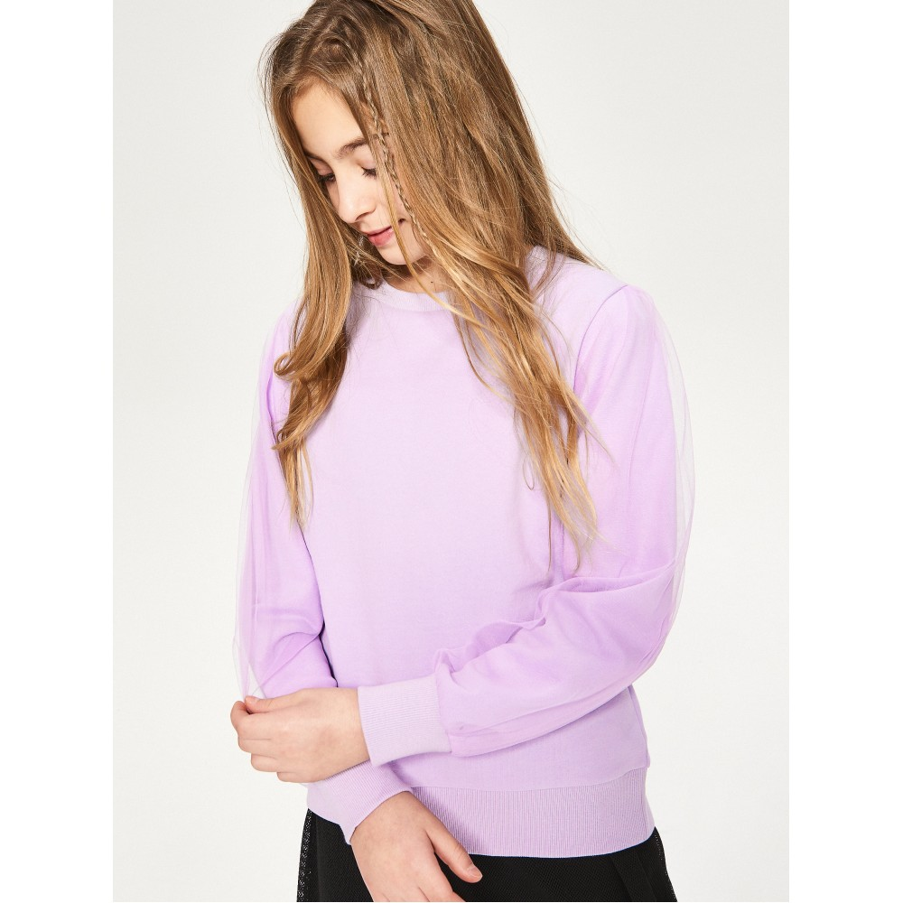 Reserved kids sweater/jogging top with tulle sleeves, light purple color