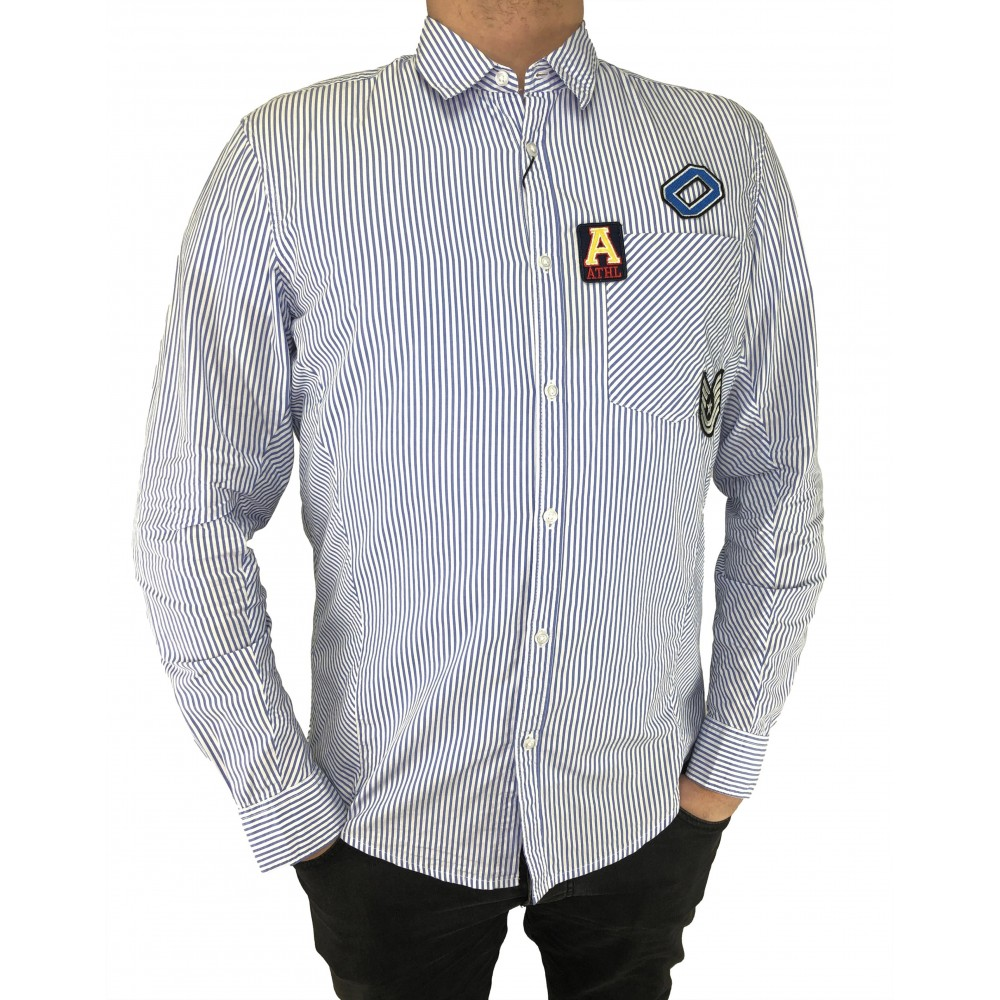 Reserved men's shirt, white-blue color striped with appliques