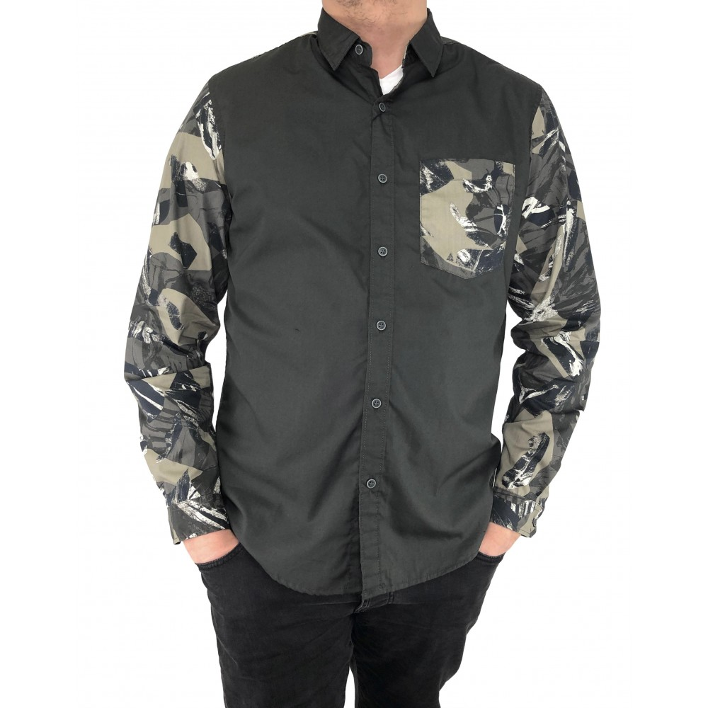 Reserved men's shirt, dark khaki color with ornaments