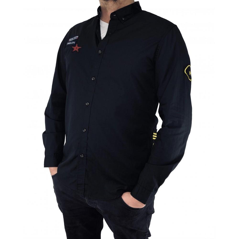 Reserved men's shirt, black color with applique