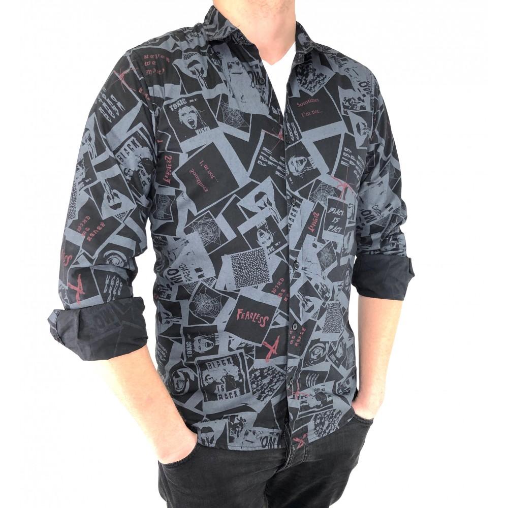 Reserved men's shirt, black-gray ornament