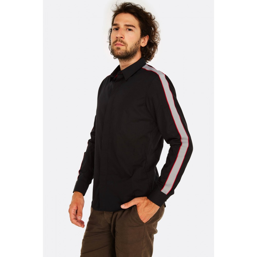 Reserved men's shirt, black color with stripes on the sleeves