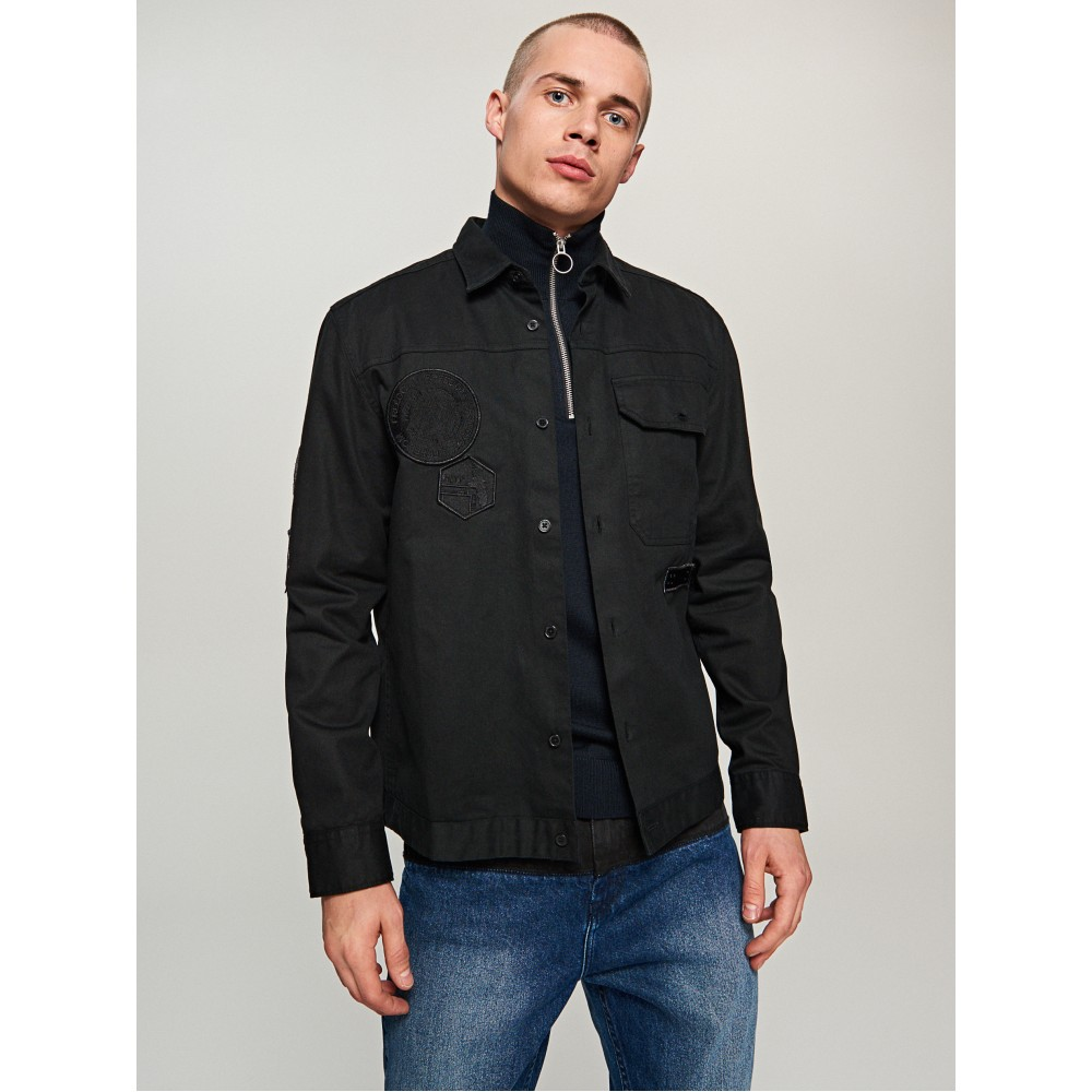 Reserved men's black color shirt with appliques