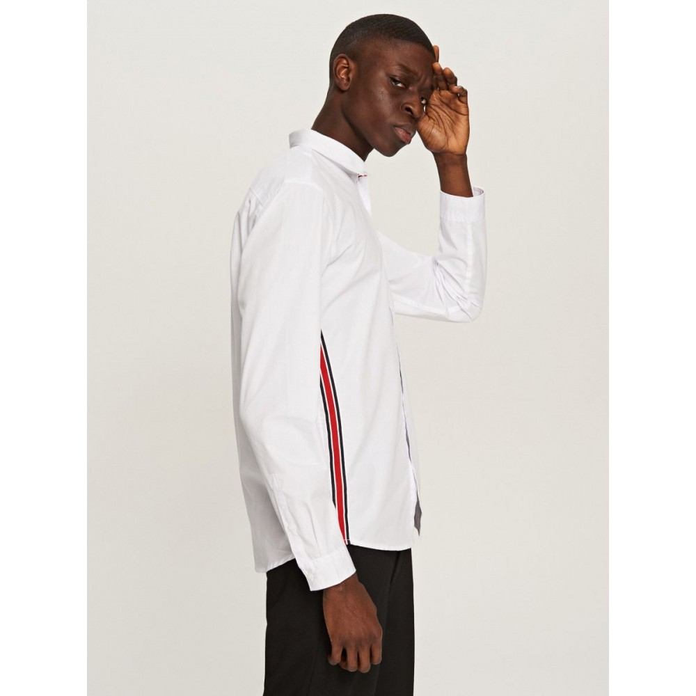 Reserved men's shirt, white color with tape on the sides