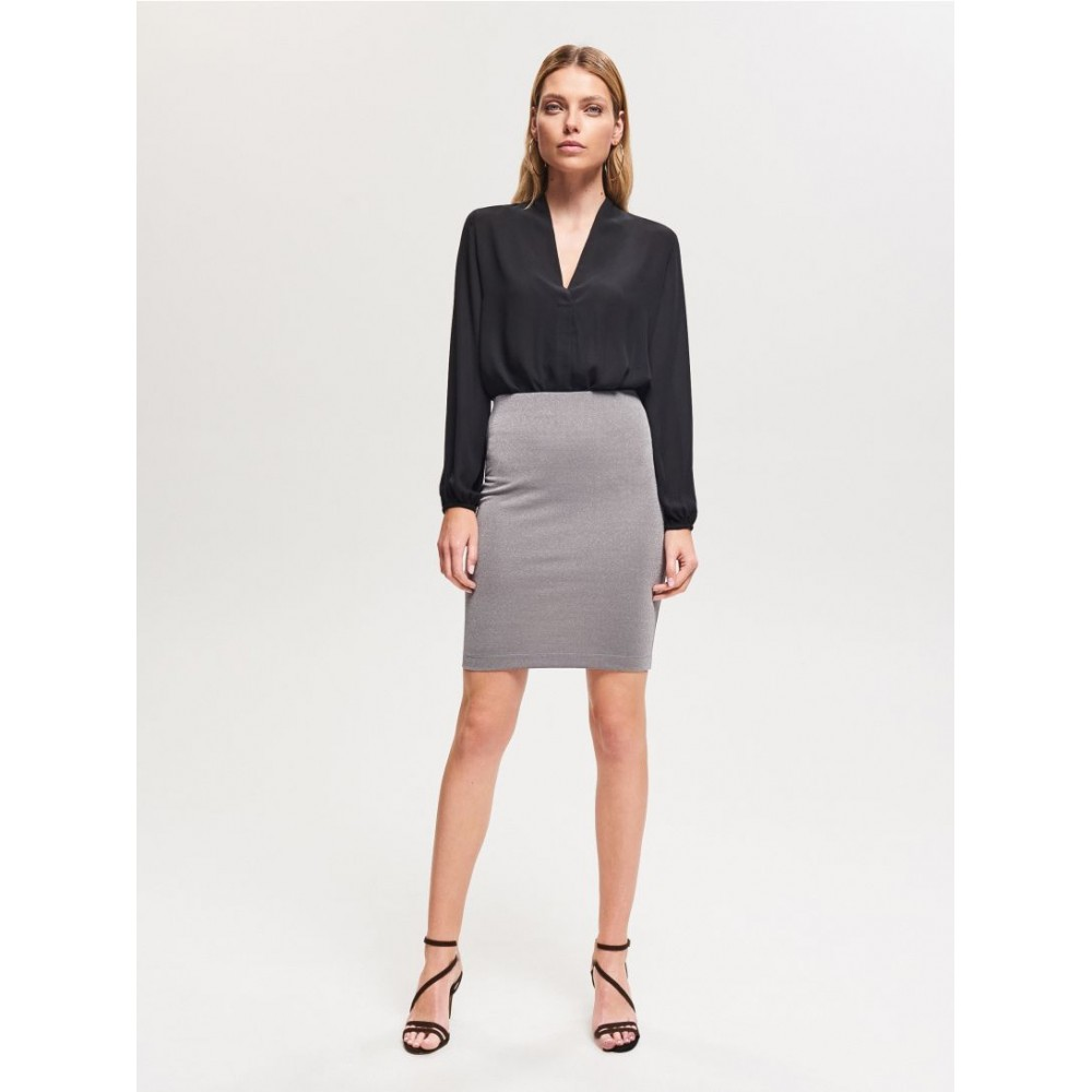 Reserved women's skirt, silver color, glossy