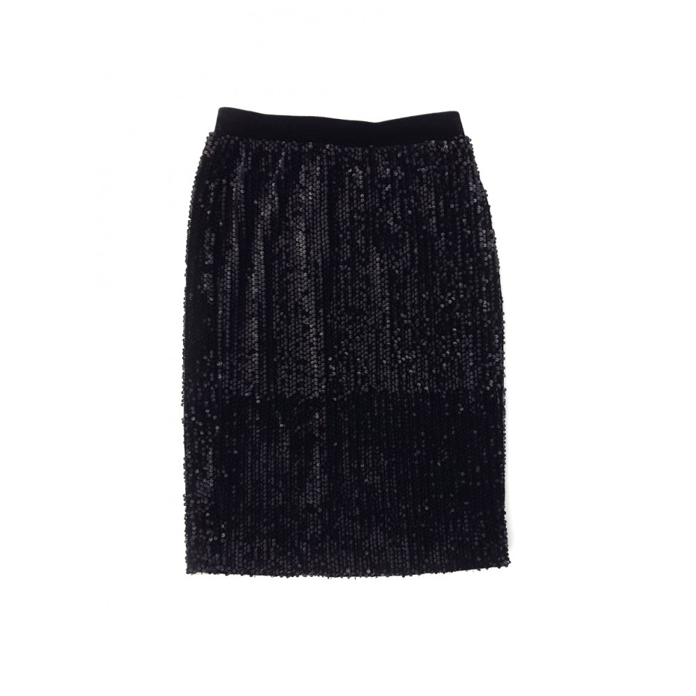 Reserved women's sequin skirt, black color with rubber on  the waist