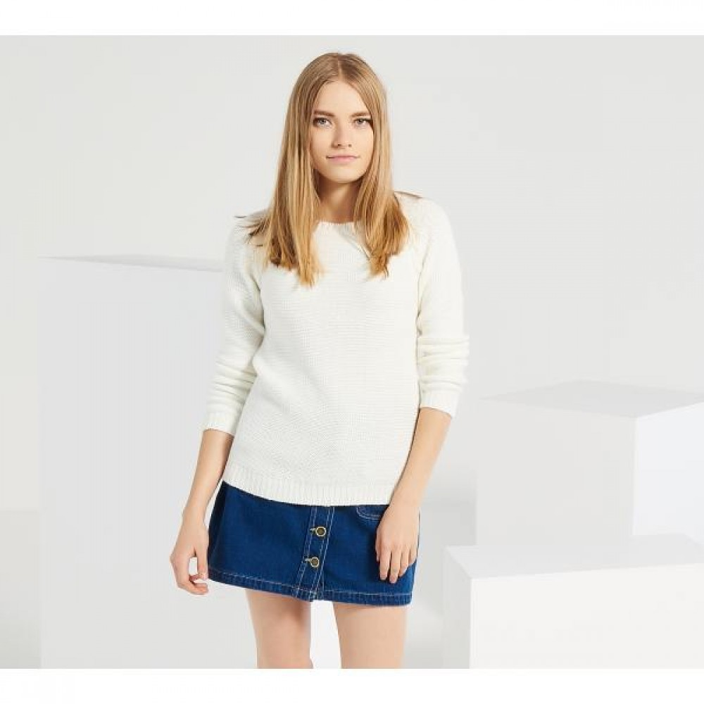 Reserved women's sweater, white color with zipper at the back