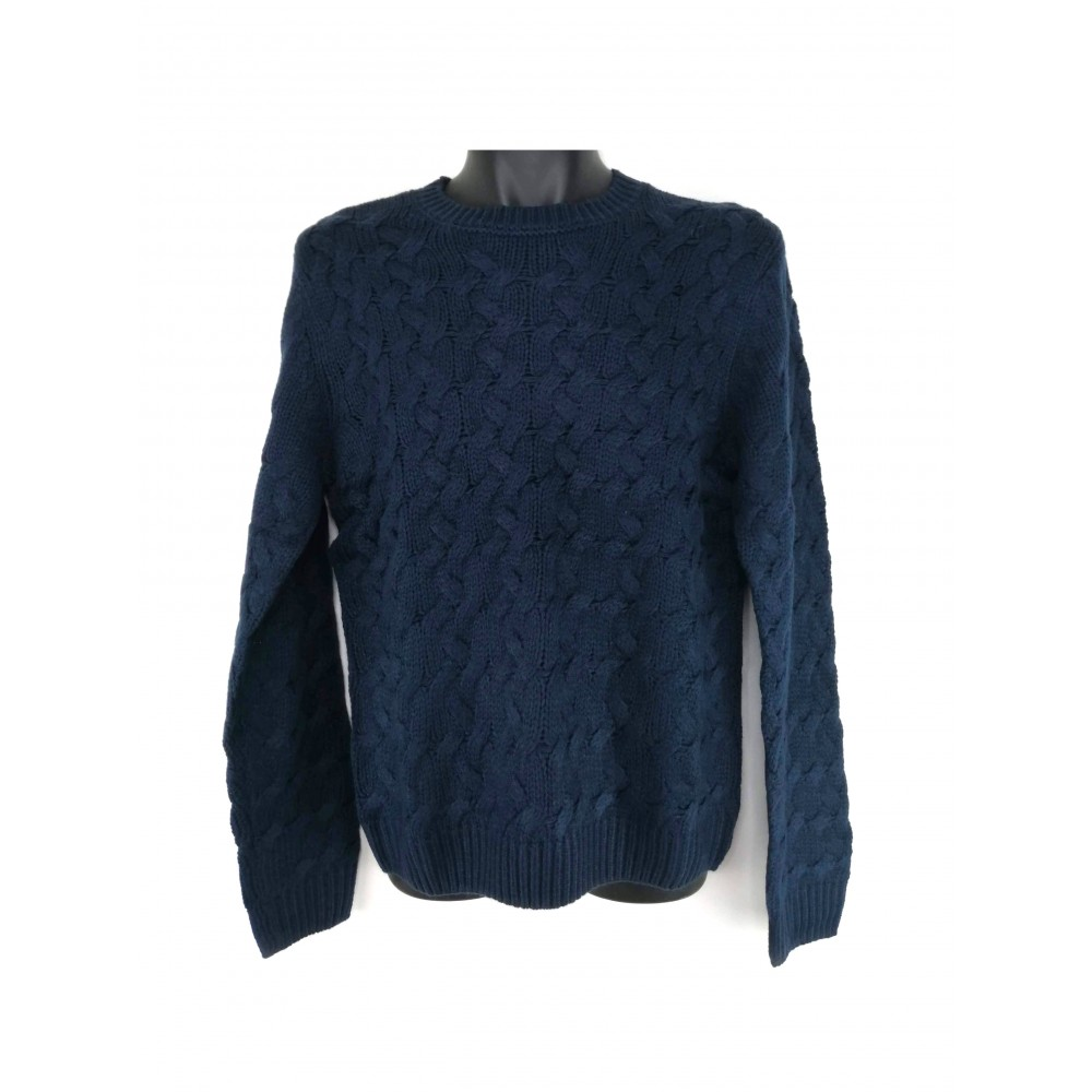 Reserved men's sweater, navy blue color with braided texture, long sleeves
