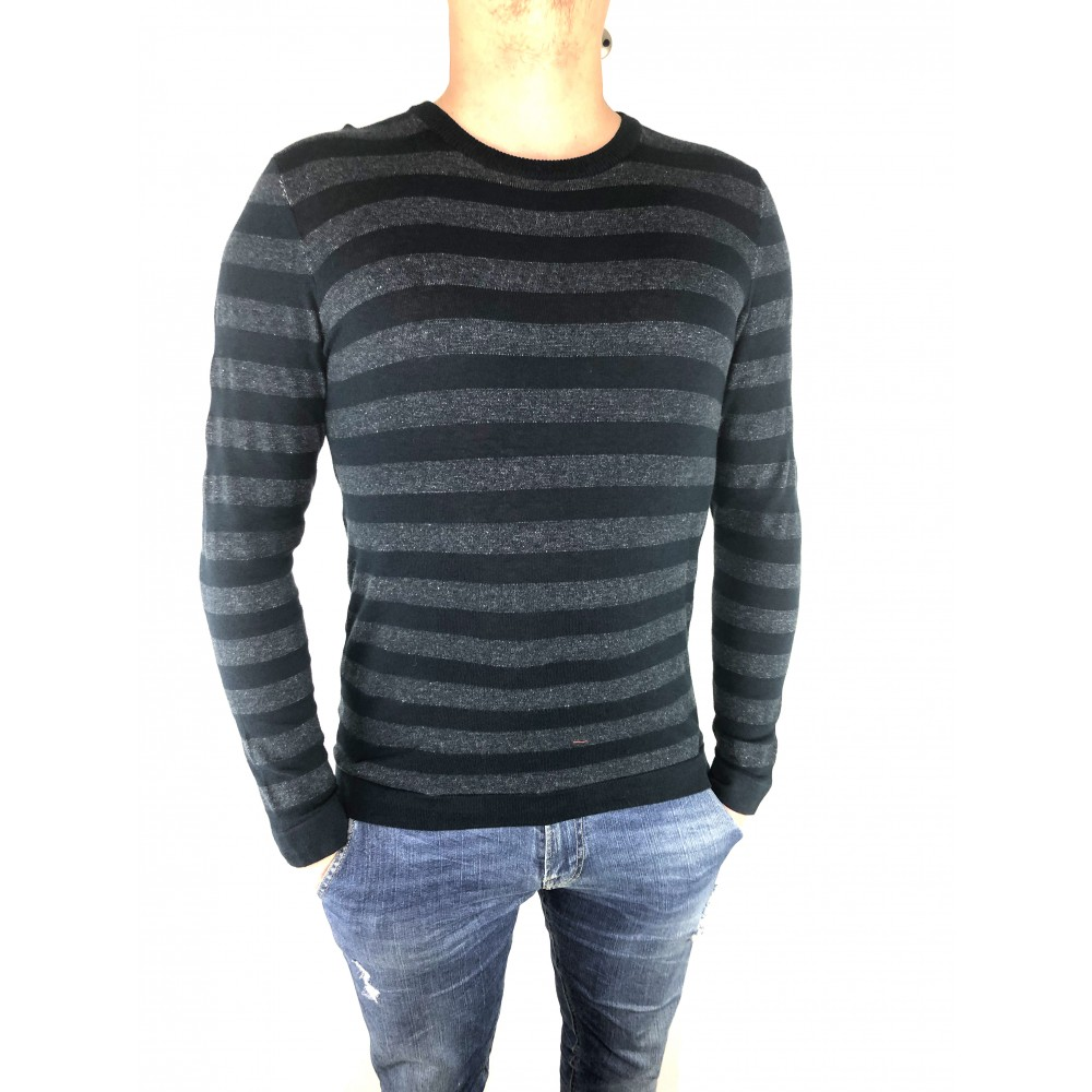 Reserved men's striped sweater, navy blue color