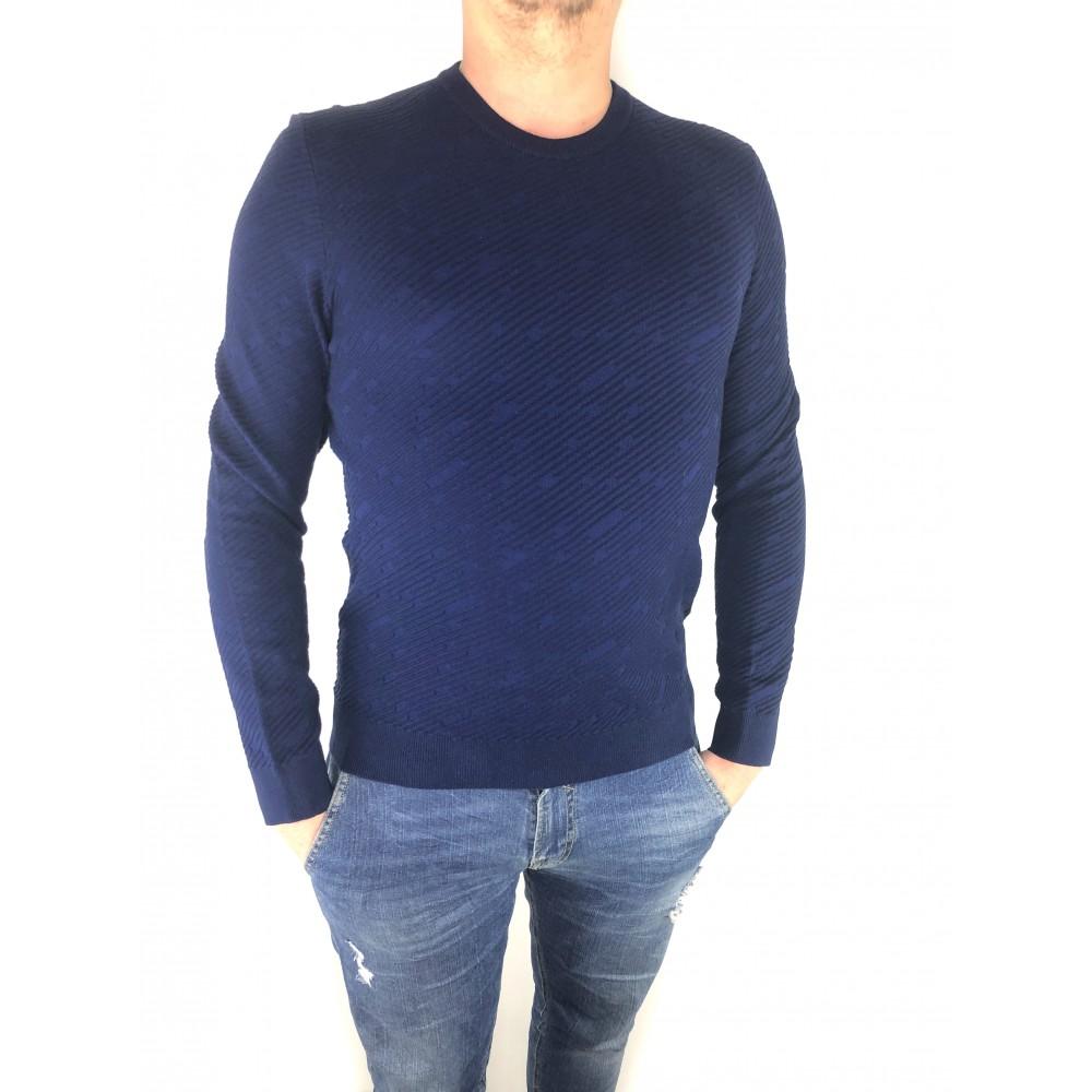 Reserved men's cotton sweater dark royal blue color