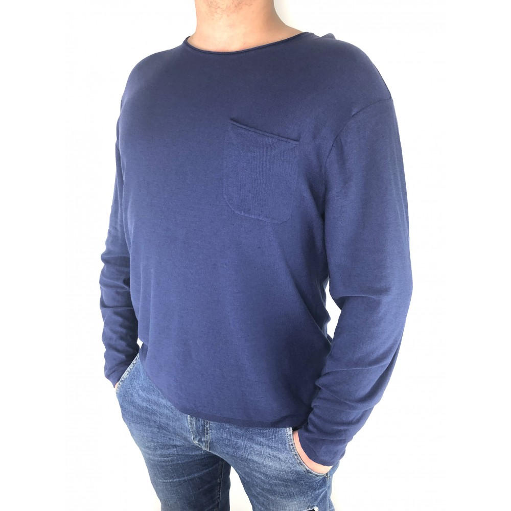 Reserved cotton men's sweater navy blue color with a pocket at the front