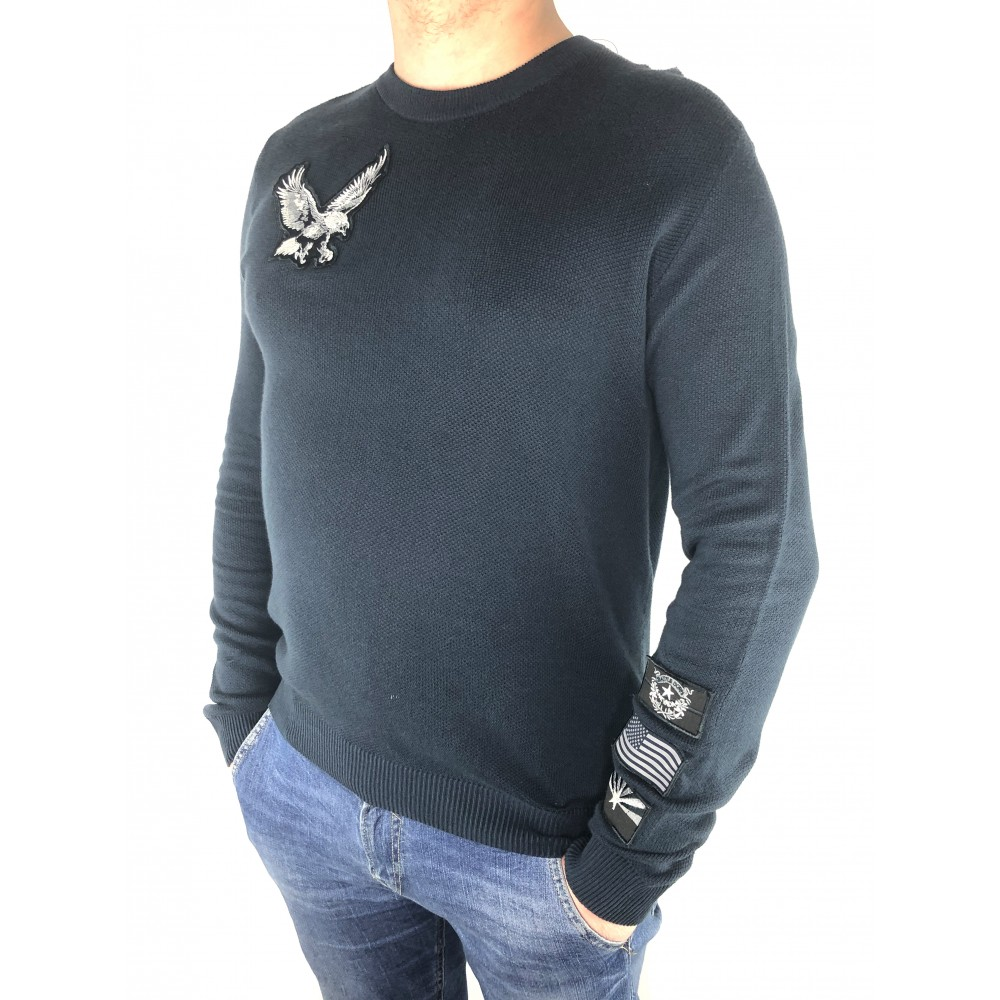 Reserved men's sweater navy blue color with applique