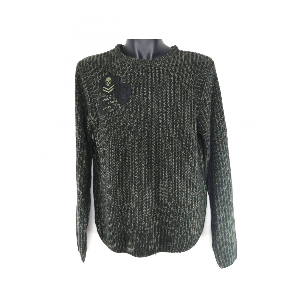 Reserved men's sweater dark green / black color with long sleeves