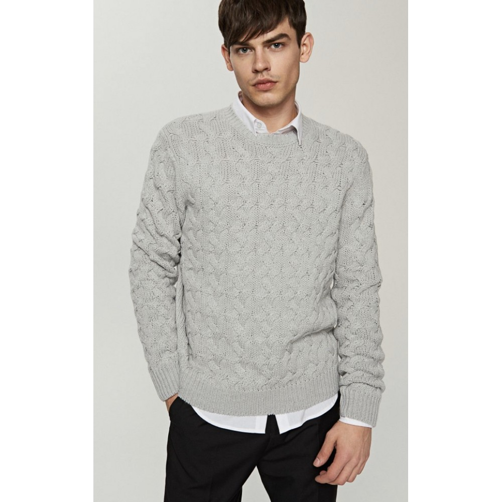 Reserved men's sweater, light gray with braid texture