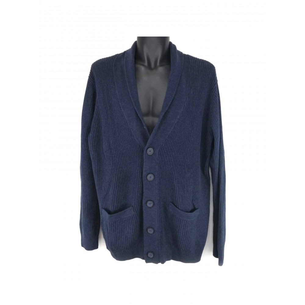 Reserved men's sweater, navy blue with button closure at the front