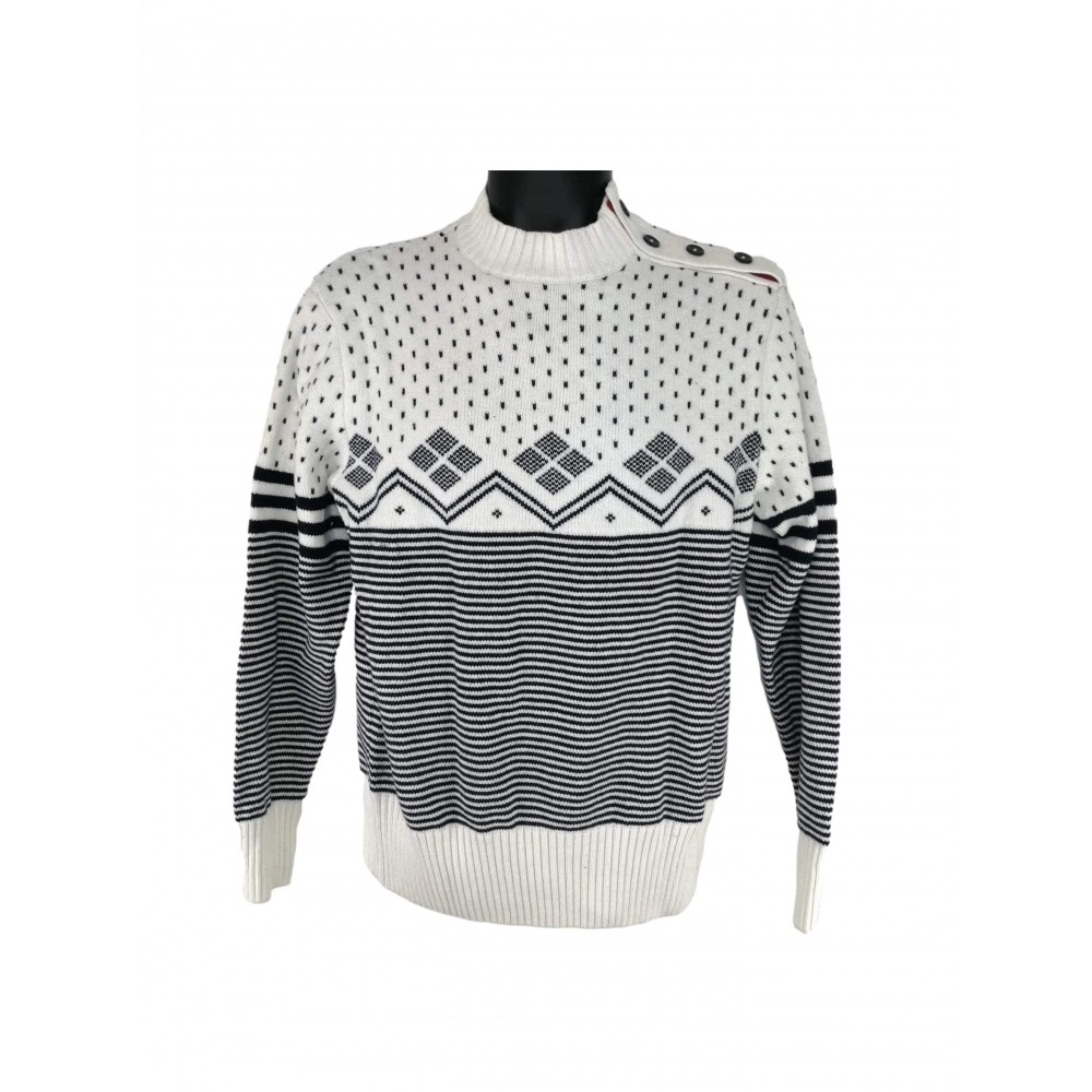 Reserved men's with wool sweater, white with navy blue ornament