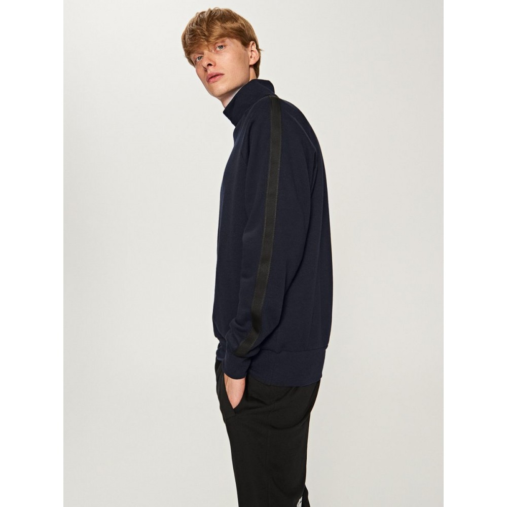 Reserved men's sweater / jogging top, navy blue with black stripes on the sleeves