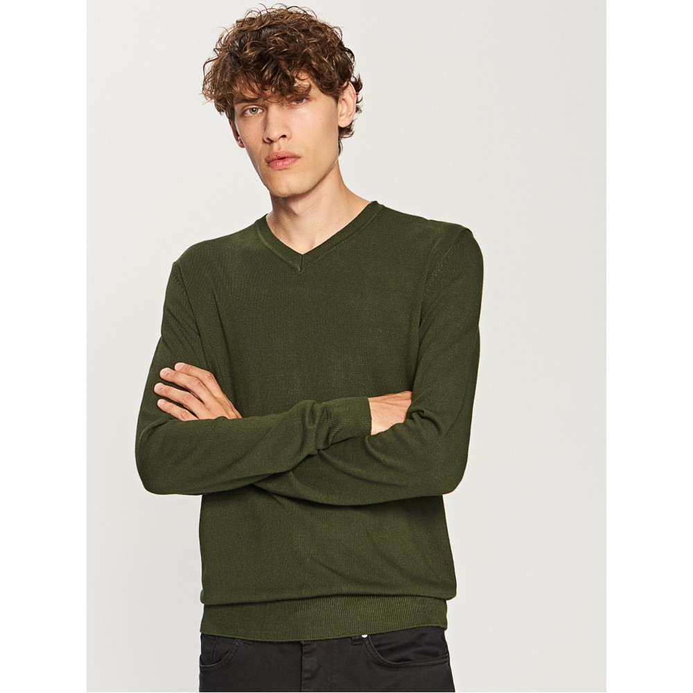 Reserved men's sweater military green color