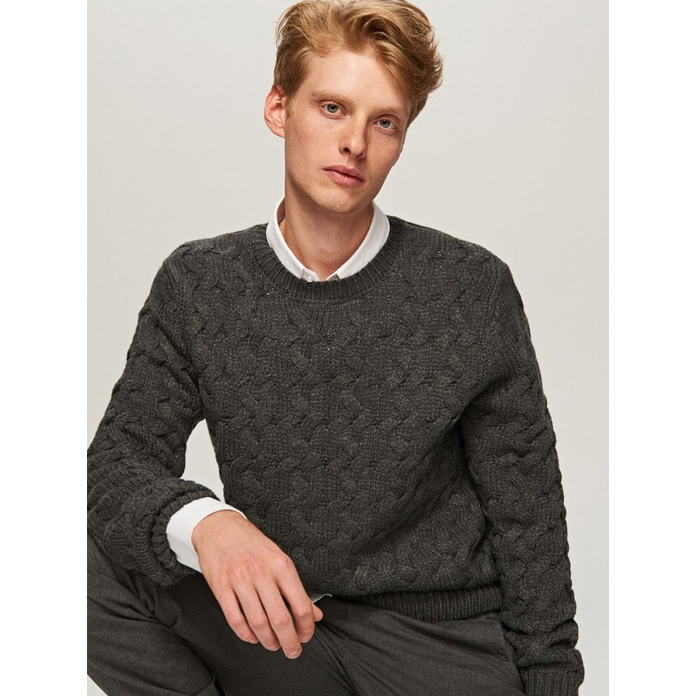 Reserved men's sweater, dark grey color with braided texture, long sleeves