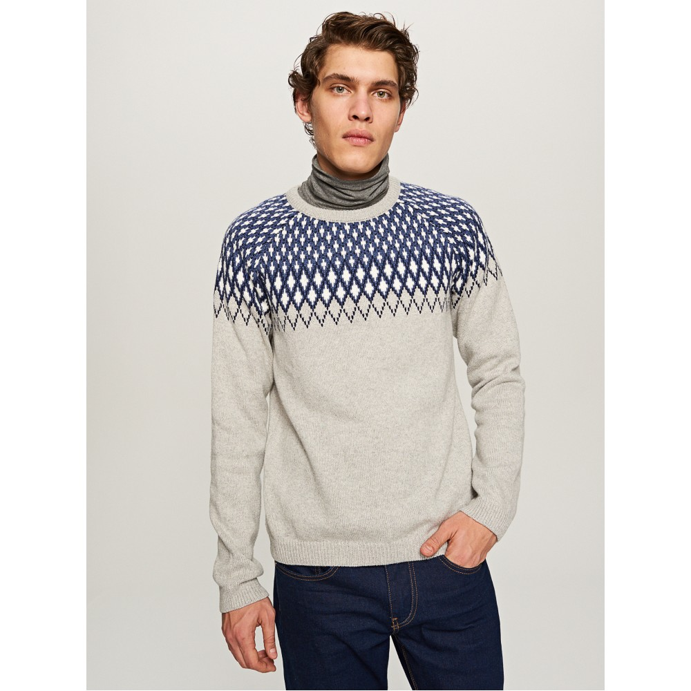 Reserved men's sweater light gray color with navy blue / white color ornament