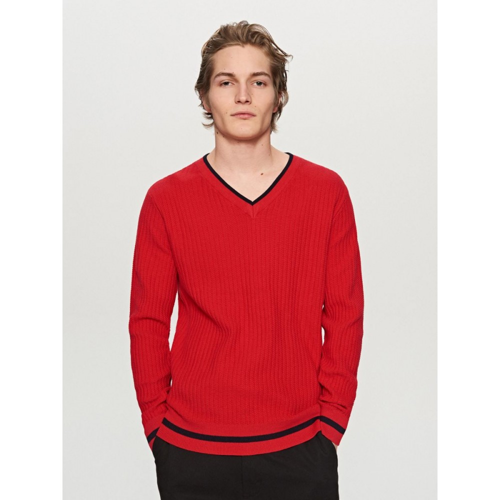 Reserved Men's V-neck Sweater, Red Color, Long Sleeves, Patterned Weave Fabric