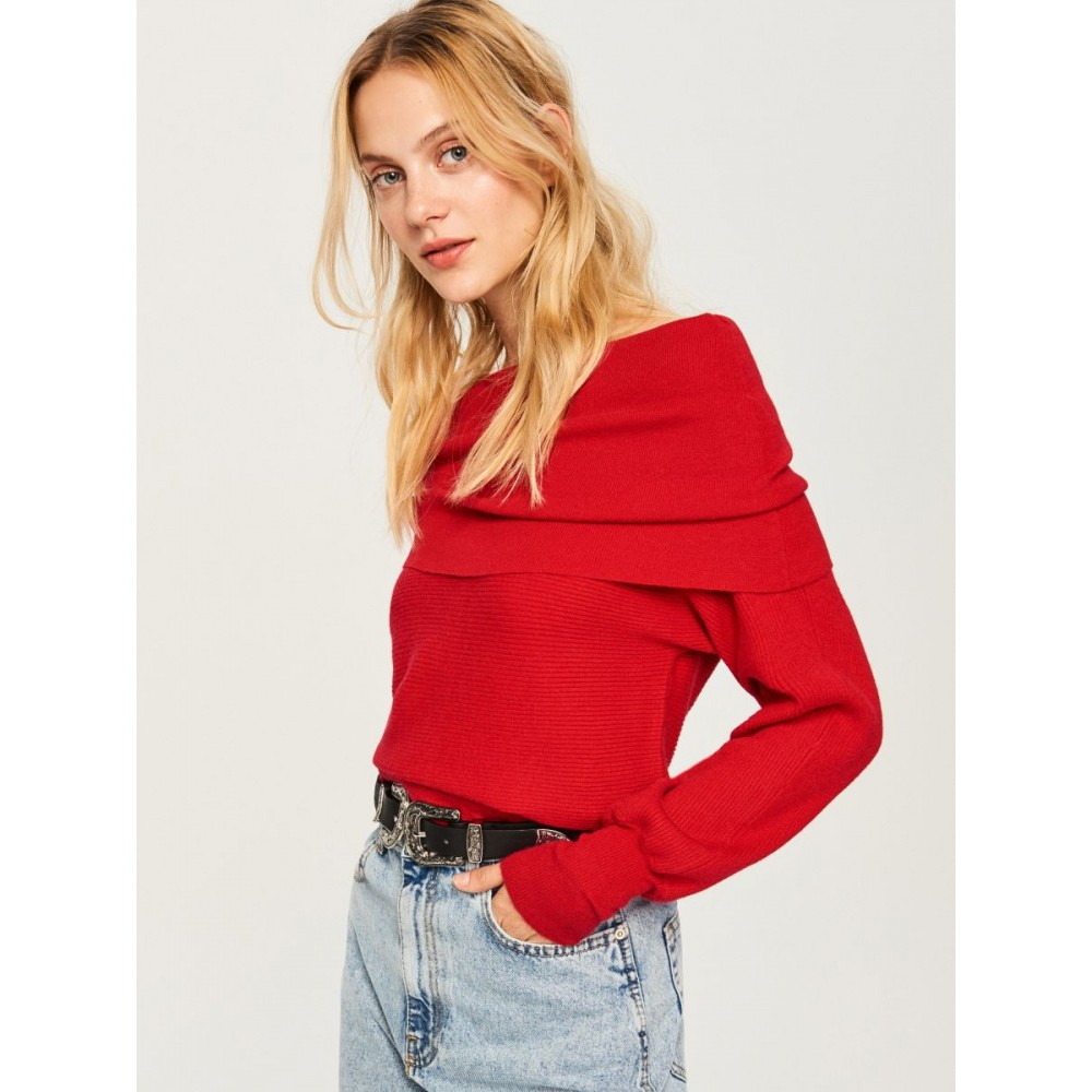 Reserved women's sweater, dark red color, extended neck, long sleeves