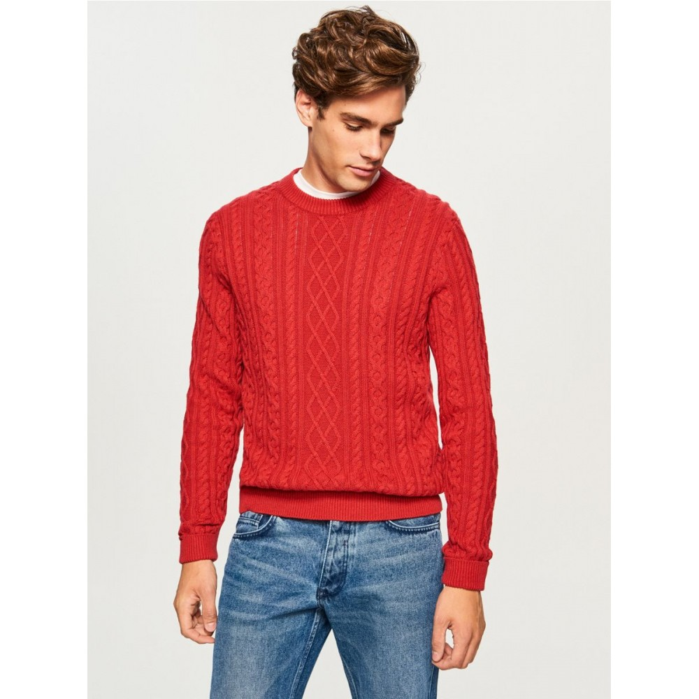 Reserved men's sweater, dark red color, patterned knitting fabric