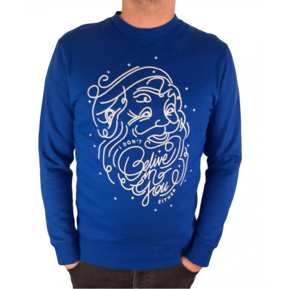 """Reserved men's sweater """"Christmas Santa"""", blue color UY883-55X"""