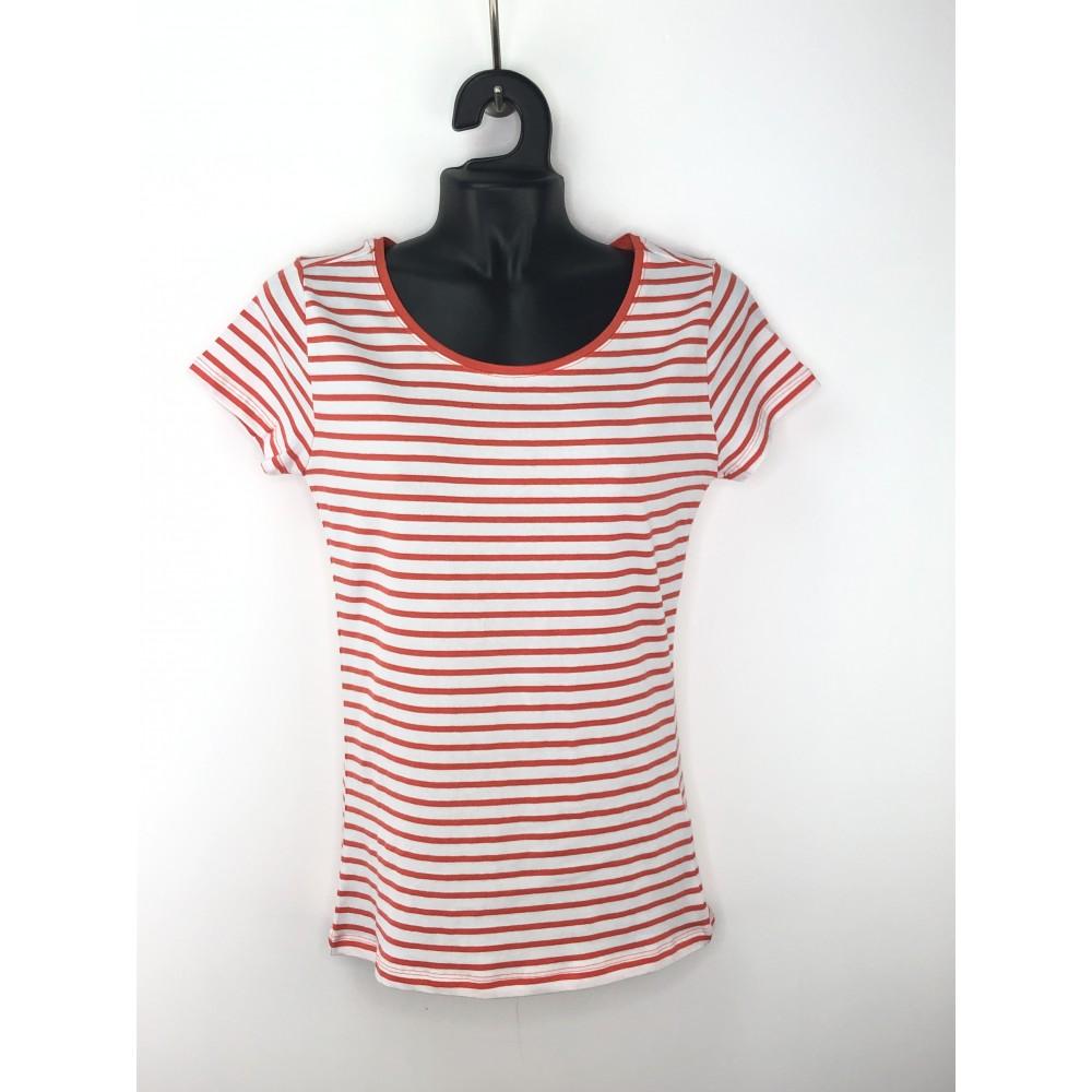 Reserved women's t-shirt, striped, orange / white color, short sleeves