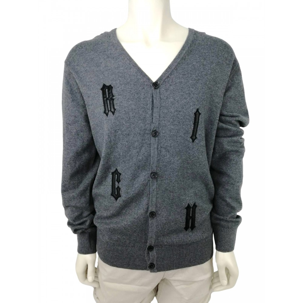 Rich men's sweater with letter application, grey color