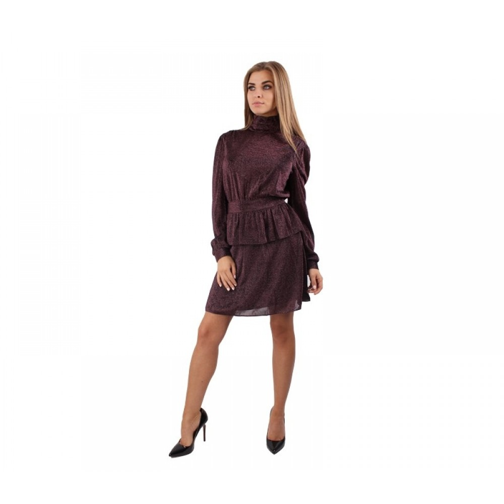 Silvian Heach dress PGA19295VE, burgundy color, shiny