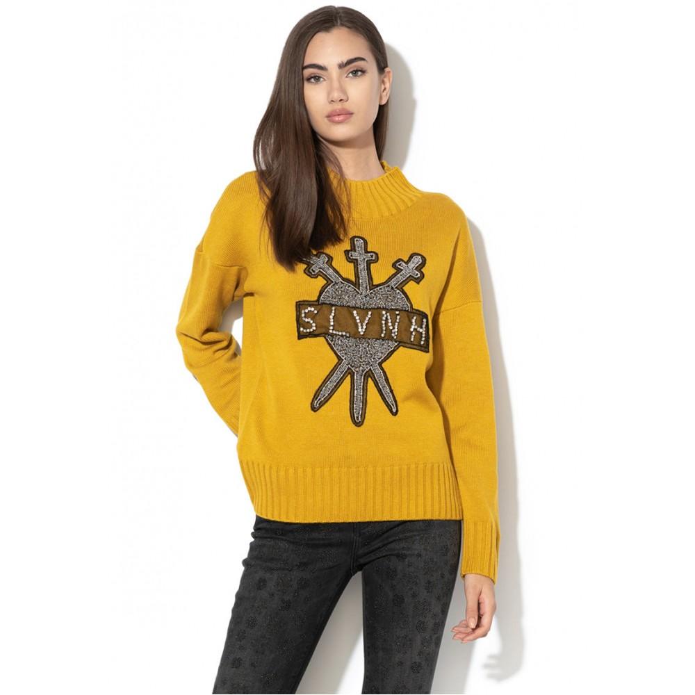 Silvian Heach women's sweater CVA19123MA MUSTARD COLOR