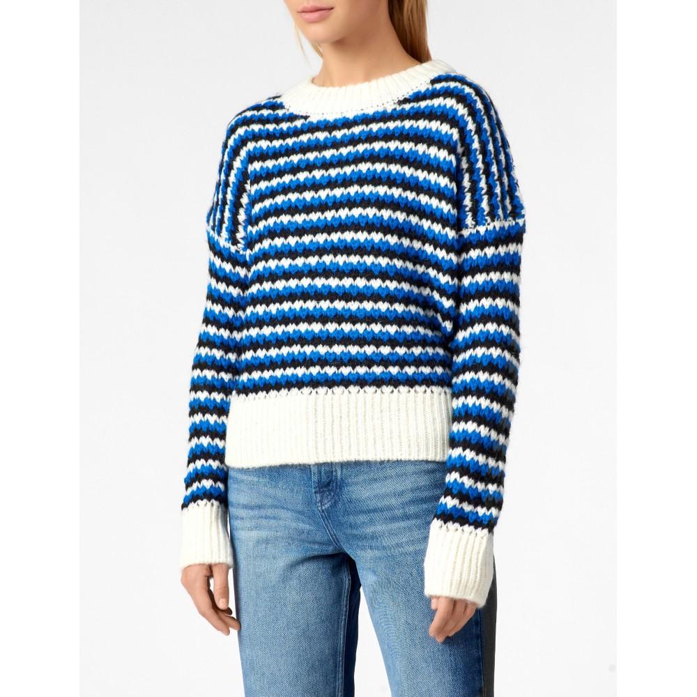 Silvian Heach women's sweater PGA19043MA WHITE/BLUE/BLACK COLOR